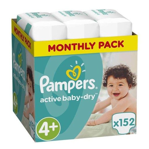 Pampers Active Baby Dry Monthly Pack No4+ Maxi Plus (9-16Kg) 152 πάνες, μόνο 0,20 € / πάνα
