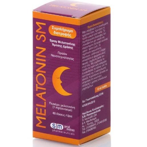 SM Pharmaceuticals Melatonin SM Oral Spray Στοματικό Σπρεϊ Μελατονίνης Άμεσης Δράσης 60doses/12ml