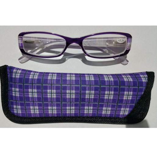Γυαλιά Διαβάσματος Κοκκάλινα σε Μωβ Χρώμα με Ειδική Θήκη Φύλαξης