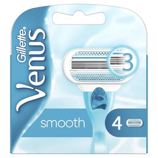 Gillette Venus Smooth Ανταλλακτικές Λεπίδες Ξυριστικής Μηχανής με 3 Λεπίδες που Αγκαλιάζουν τις Καμπύλες σας 4 Τεμάχια