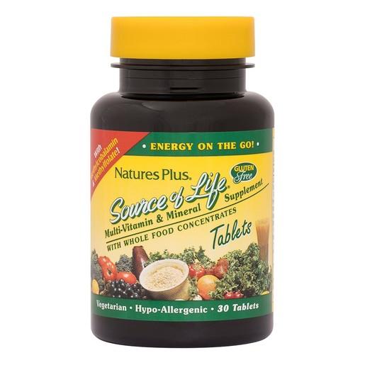 Nature\'s Plus Source of Life Πολυβιταμίνη με 56 Φυτικά Συστατικά 30 tabs