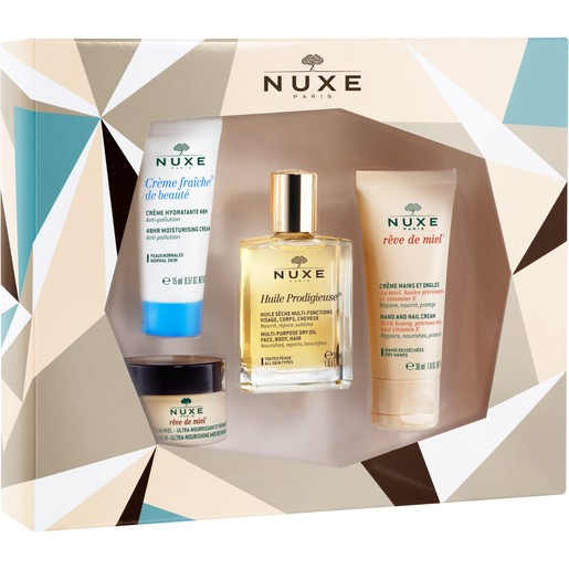 Nuxe Christmas Box Creme Fraiche de Beaute Normal 15ml,Huile Prodigieuse 30ml,Reve De Miel Hand-Nail Cream 30ml,Lip Balm 15g