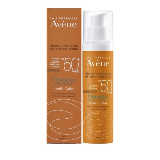Avene Eau Thermale Cleanance Solaire Tinted SPF50+ Αντηλιακό Γαλάκτωμα Με Χρώμα Για Λιπαρή & Με Τάση Ακμής Επιδερμίδα 50ml