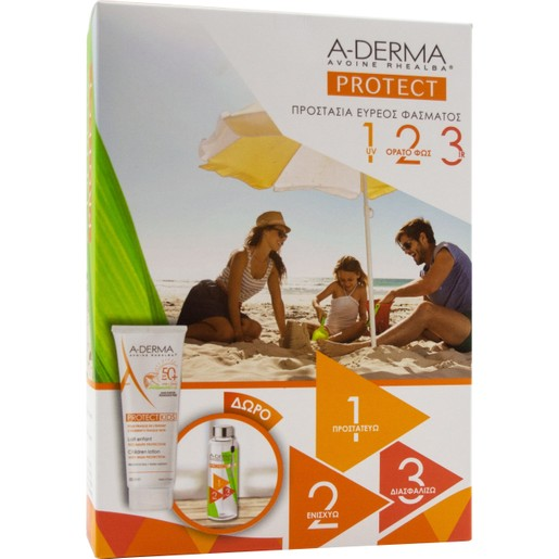 A-Derma Πακέτο Προσφοράς Protect Kids Lait Enfant Αντηλιακό Παιδικό Γαλάκτωμα Πρόσωπο/Σώμα Spf50+, 250ml & Δώρο Παγουρίνο 250ml