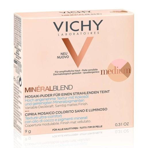 Vichy MineralBlend Make Up Healthy Glow Tri-Colour Powder Medium Τρίχρωμη Πούδρα για Λάμψη & Ενυδατωμένη Επιδερμίδα 9gr