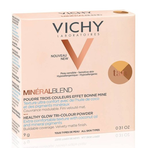 Vichy MineralBlend Make Up Healthy Glow Tri-Colour Powder Tan Τρίχρωμη Πούδρα για Λάμψη & Ενυδατωμένη Επιδερμίδα 9gr