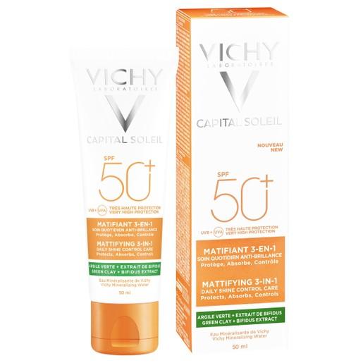 Vichy Capital Soleil Mattifying 3 in 1 Daily Shine Control Care SPF50+ Αντηλιακή Προσώπου που Διατηρεί την Επιδερμίδα Ματ 50ml