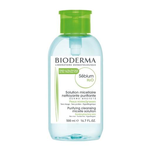 Bioderma Sebium H20 Διάλυμα Καθαρισμού & Ντεμακιγιάζ για Μικτό - Λιπαρό Δέρμα με Αντίστροφη Αντλία 500ml