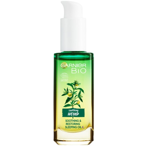 Garnier Bio Organic Hemp Multi-Restore Facial Sleeping Oil Επανορθωτικό Ενυδατικό Έλαιο Σπόρου Κάνναβης για το Πρόσωπο 30ml