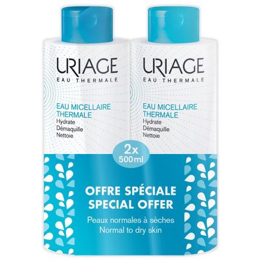 Uriage Promo Eau Thermale Micellaire Sensitive Skin Αφαιρεί Τέλεια το Μακιγιάζ για Κανονικές Ξηρές Επιδερμίδες 2x500ml