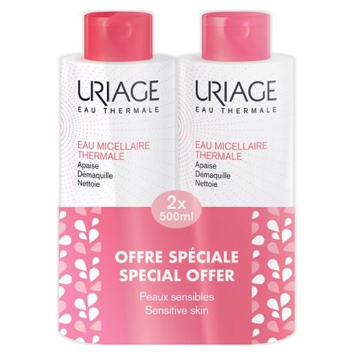 Uriage Promo Eau Thermale Micellaire Sensitive Skin Αφαιρεί Τέλεια το Μακιγιάζ για Ευαίσθητες Επιδερμίδες 2x500ml