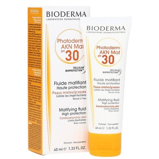 Bioderma Photoderm Akn Mat Fluide Spf30 Αντηλιακή Κρέμα Προσώπου για το Μεικτό Λιπαρό Με Τάση Ακμής Δέρμα 40ml