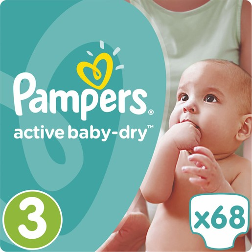 Pampers Active Baby Dry Jumbo Pack No3 (5-9kg) 68 πάνες