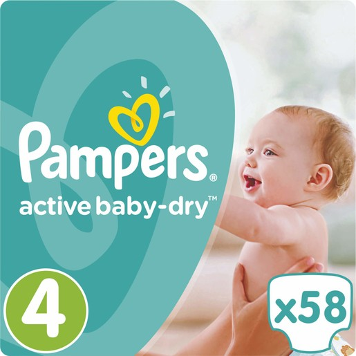 Pampers Active Baby Dry Jumbo Pack No4 (8-14kg) 58 πάνες