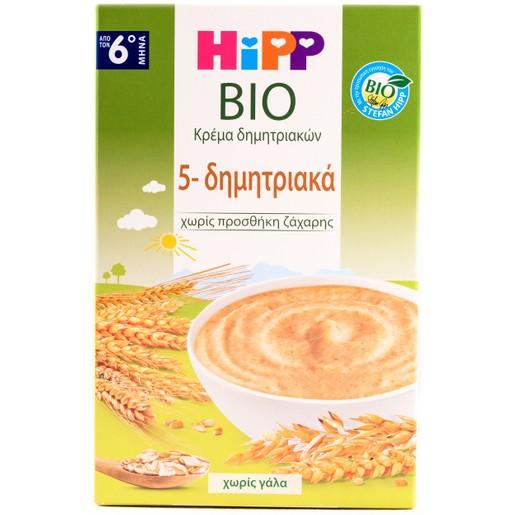Hipp Bio Κρέμα 5 Δημητριακών Από Επιλεγμένα Δημητριακά Ολικής Άλεσης Βιολογικής Καλλιέργειας 200gr