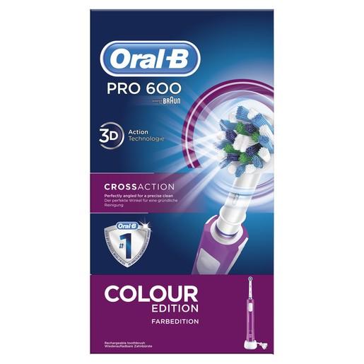 Oral-B Pro 600 Cross Action Color Edition Ηλεκτρική Οδοντόβουρτσα σε Μωβ Χρώμα