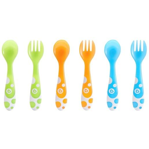 Munchkin Multi Coloured Forks & Spoons Πολύχρωμα Κουταλάκια και Πιρουνάκια 12m+, 6 Τεμάχια