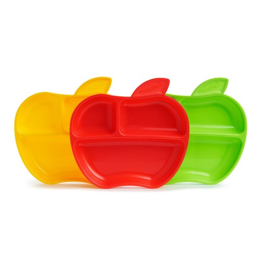 Munchkin Apple Pomme από 6 Μηνών Παιδικά Πιάτα σε Σχέδιο Μήλο 3 Τεμάχια