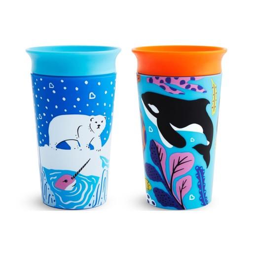 Munchkin Miracle 360° Cup Polar / Orca Παιδικά Εκπαιδευτικά Ποτηράκια Φάλαινα / Αρκούδα 266ml 2 Τεμάχια
