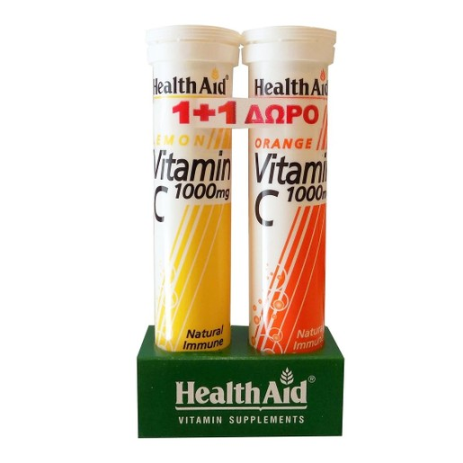 Health Aid Vitamin C 1000mg Γεύση Λεμόνι 20 Αναβράζ. Δισκία & Δώρο Vitamin C Orange 1000mg 20 Αναβράζ. Δισκία