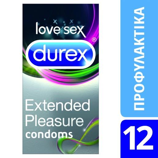Durex Extended Pleasure Προφυλακτικά με Επιβραδυντικό Τζελ για Απόλαυση που Διαρκεί Περισσότερο 12 Τεμάχια