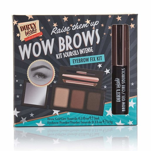 Dirty Works Wow Brow Eyebrow Fix Kit Παλέτα Σκιών για τα Φρύδια με 2 Αποχρώσεις & 1 για Λάμψη 3x3.9gr & Ένα Gel Φρυδιών 3ml