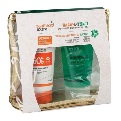 Medisei Promo Sun Care & Beauty Panthenol Extra Sun Care Face & Body Milk Spf50, 150ml &  Aloe Vera Gel 150ml & Δώρο Νεσεσέρ