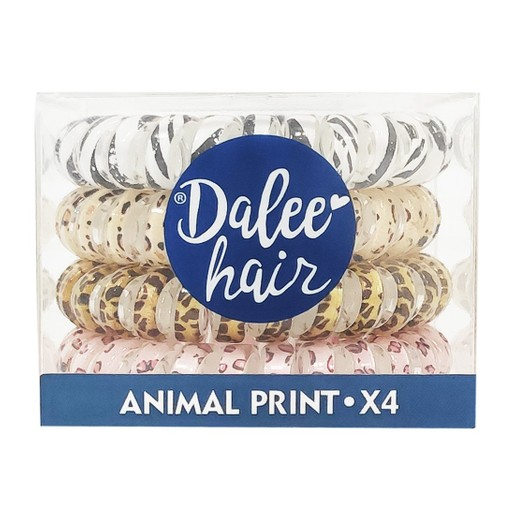 Medisei Dalee Hair Spiral Animal Print Σπιράλ Λαστιχάκια Μαλλιών 4 Τεμάχια