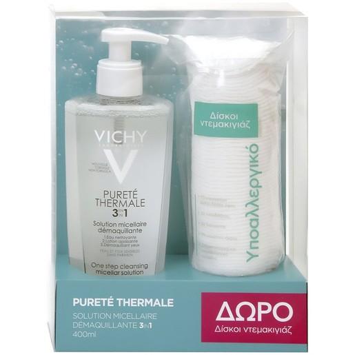 Vichy Purete Thermal Solution Micellaire 3 in 1 Νερό Καθαρισμού Προσώπου-Ματιών 3 σε 1, 400ml & Δώρο Δίσκοι Ντεμακιγιάζ