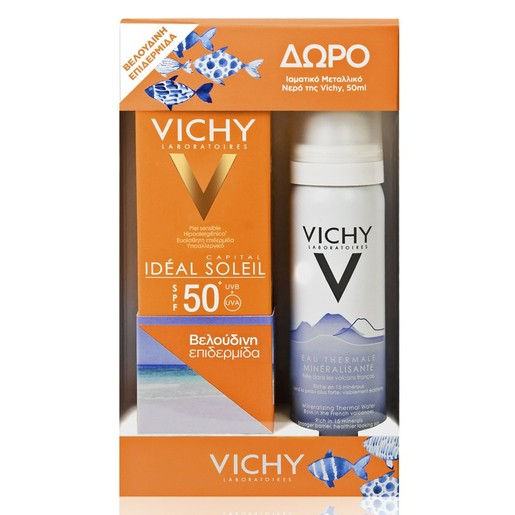 Vichy Πακέτο Προσφοράς Ideal Soleil Velvety Creme Spf50+, 50ml & Δώρο Eau Thermale Mineralisante 50ml
