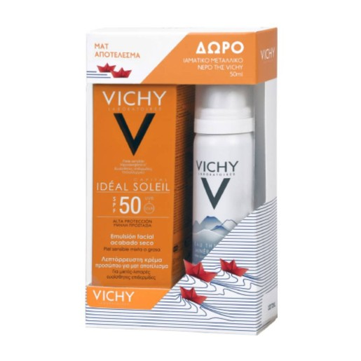 Vichy Πακέτο Προσφοράς Ideal Soleil Mattifying Face Dry Touch Spf50, 50ml & Δώρο Eau Thermale Mineralisante 50ml