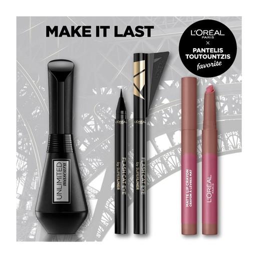 L\'oreal Paris Make It Last Make up Set Unlimited Mascara Black 7.4ml, Superliner Flash Cat Eye Black & Matte Lip Crayon 1.3gr