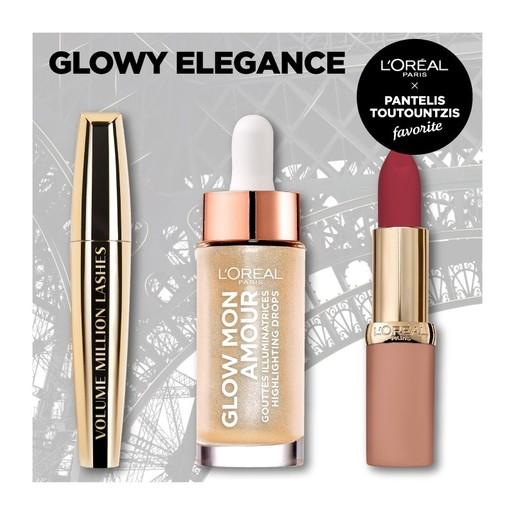 L\'oreal Paris Glowy Elegance Make up Set Glow Mon Amour 15ml, Volume Million Lashes Mascara 10.7ml,Color Riche Ultra Matte 4.2gr