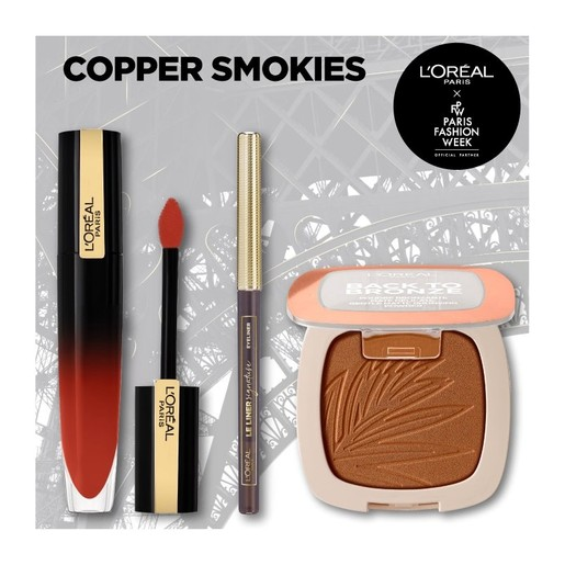 L\'oreal Paris Fashion Week Copper Smokies Make up Set Le Liner Signature 1.2gr,Matte Bronzer 10gr,Gloss Rouge Signatur 6.4ml