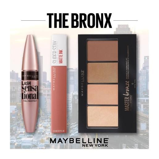 Maybelline The Bronx Make up Set Master Bronze Palette 14gr,Super Stay Matte Ink Liquid Lip 5ml,Lash Sensational Mascara 9.5ml