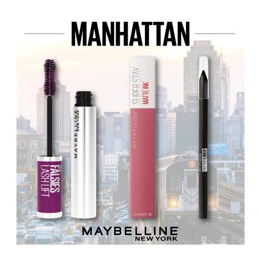 Maybelline Manhattan Make up Set Falsies Lash Lift Mascara 9.6ml,Tattoo Liner Pencil 1.3gr,Superstay Matte Ink Liquid Lip 5ml
