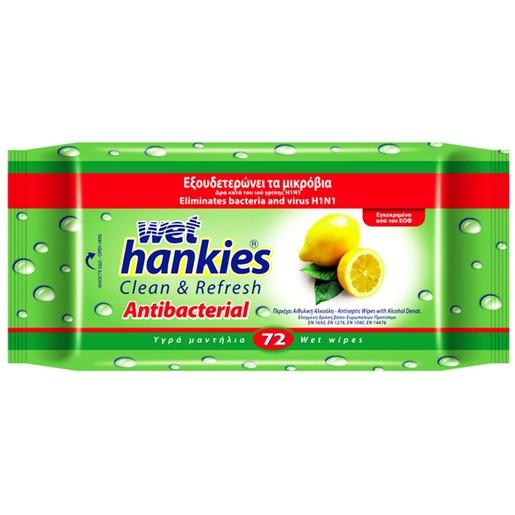Wet Hankies Clean & Protect Antibacterial Lemon Scent Υγρά Αντιβακτηριδιακά Μαντηλάκια 72τμχ