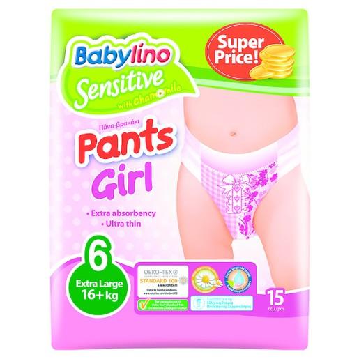 Babylino Sensitive Pants Girl Extra Large No6 (16+kg) 15 πάνες