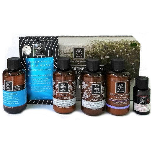 Apivita Euphoria Travel Kit, Moisturizing Shampoo 75ml & Mask 20ml, Jasmine Lotion 75ml & Shower 75ml, Intim Gel 20ml, Foam 75ml