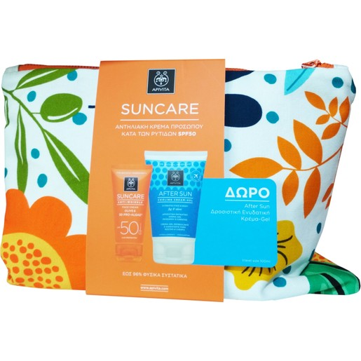 Apivita Πακέτο Προσφοράς Suncare Anti-Wrinkle Face Cream Spf50, 50ml & Δώρο After Sun Cooling Cream Gel 100ml & Νεσεσέρ