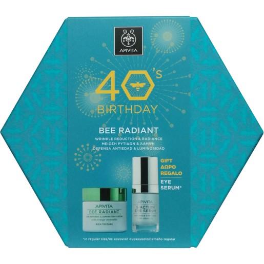 Apivita Πακέτο Προσφοράς 40years Bee Radiant Cream, Rich Texture 50ml & Δώρο 5-Action Eye Serum 15ml