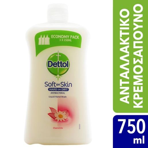 Dettol Liquid Soap Chamomile Refill Ανταλλακτικό Αντιβακτηριδιακό Υγρό Κρεμοσάπουνο Χεριών με Χαμομήλι 750ml