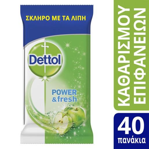 Dettol Surface Clean Wipes Υγρά Πανάκια Καθαρισμού με Άρωμα Πράσινο Μήλο για Όλες τις Επιφάνειες 40 Τεμάχια