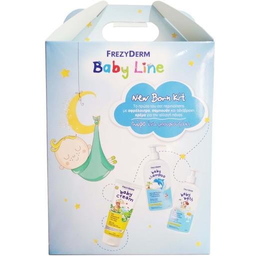 Frezyderm New Born Kit Baby Cream 175ml, Baby Shampoo 300ml, Baby Bath 300ml & Δώρο Ένα Μπουρνουζάκι για Αγόρια