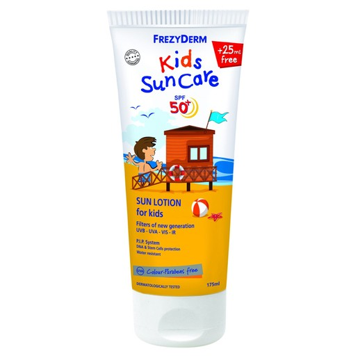 Frezyderm Kids Sun Care Spf50+ Παιδικό Αντηλιακό Γαλάκτωμα Προσώπου & Σώματος, Πολύ Υψηλής Προστασίας 175ml