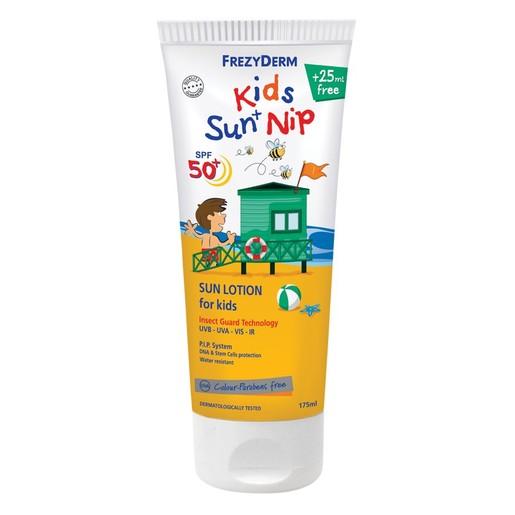 Frezyderm Kids Sun + Nip Spf50+ Παιδικό Αντιηλιακό Γαλάκτωμα για Πρόσωπο & Σώμα με Εντομοαπωθητικούς Παράγοντες 175ml