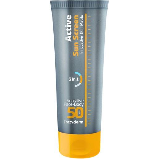 Frezyderm Active Sun Screen Sensitive Face & Body Spf50, Ενεργή Κρέμα Υψηλής Αντηλιακής Προστασίας Προσώπου-Σώματος 150ml