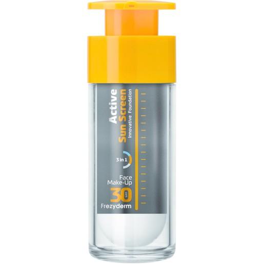 Frezyderm Active Sun Screen Face Foundation Spf30, Αντηλιακό Make-Up Προσώπου Κατάλληλο για Όλες τις Δερματικές Αποχρώσεις 30ml