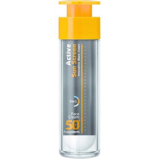 Frezyderm Active Sun Screen Face Cream Spf50+, Ενεργή Αντηλιακή Κρέμα Προσώπου Πολύ Υψηλής Προστασίας με Ειδική Μαύρη Χρώση 50ml