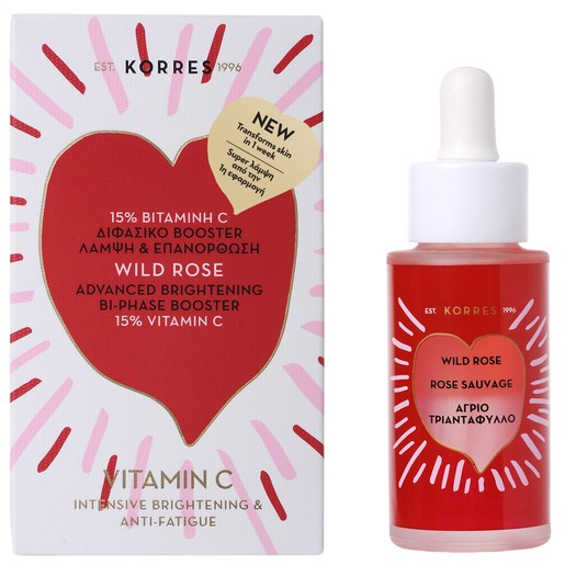 Korres Wild Rose Bi-Phase Booster Διφασικό Booster με 15% Βιταμίνη C για Super Λάμψη & Επανόρθωση 30ml